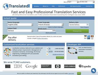 Main page screenshot of translated.net