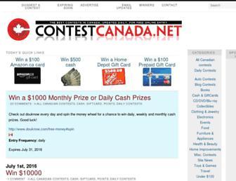 Main page screenshot of contestcanada.net