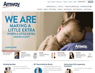 Main page screenshot of amway.ca