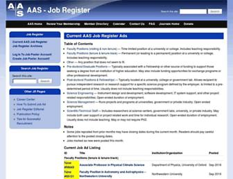 Main page screenshot of jobregister.aas.org