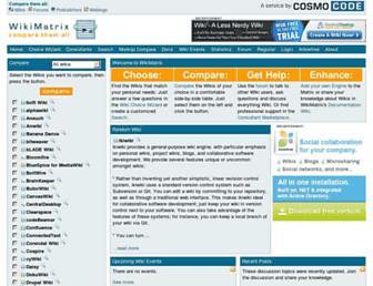 Main page screenshot of wikimatrix.org