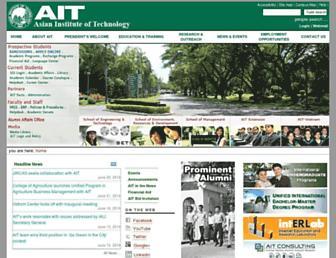 Main page screenshot of ait.ac.th