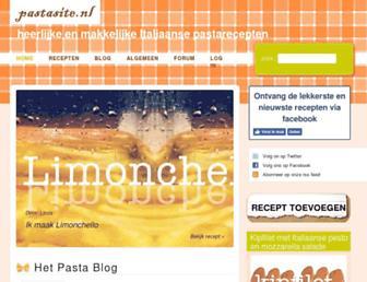 Main page screenshot of pastasite.nl