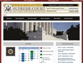 Main page screenshot of supremecourt.gov