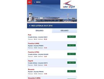Main page screenshot of m.zadar-airport.hr
