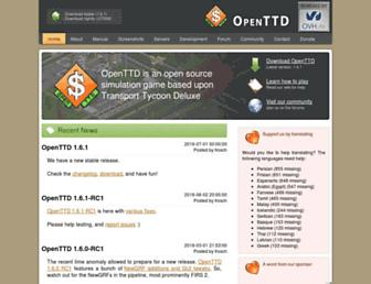Main page screenshot of openttd.org