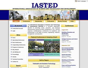 Main page screenshot of iasted.org