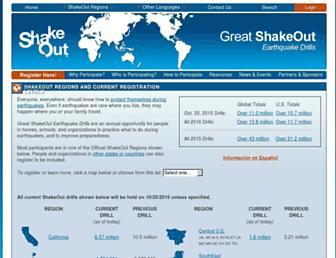 Main page screenshot of shakeout.org