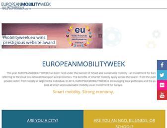 Main page screenshot of mobilityweek.eu