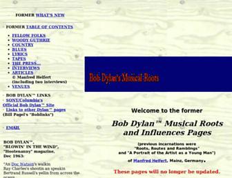 bobdylanroots.com screenshot