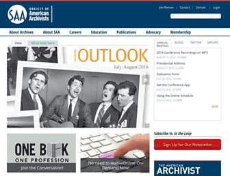 Main page screenshot of www2.archivists.org