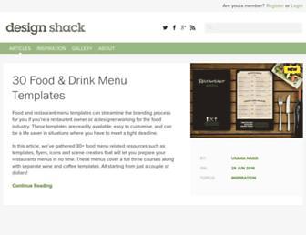 Main page screenshot of designshack.net