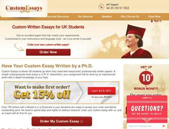 Main page screenshot of customessays.co.uk