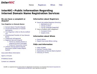 Main page screenshot of internic.net