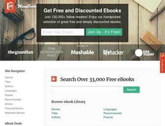 Main page screenshot of manybooks.net