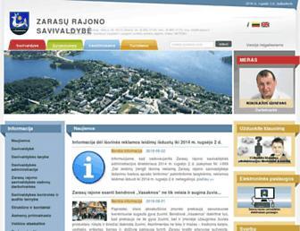 Main page screenshot of zarasai.lt