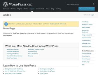 codex.wordpress.org screenshot