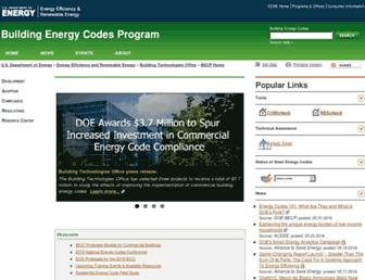 Main page screenshot of energycodes.gov