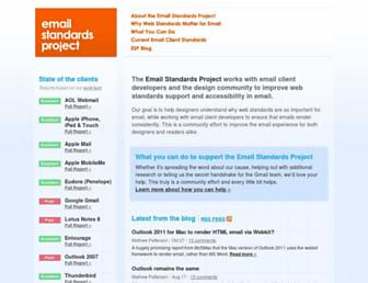 Main page screenshot of email-standards.org