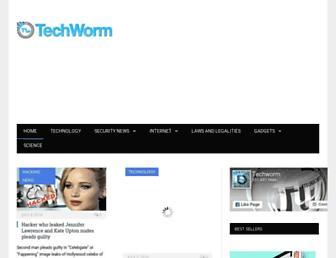 Main page screenshot of techworm.net