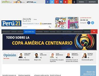 Main page screenshot of peru21.pe