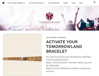 Main page screenshot of tomorrowland.be