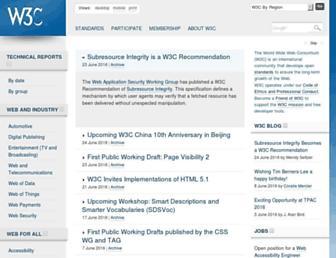 Main page screenshot of w3.org