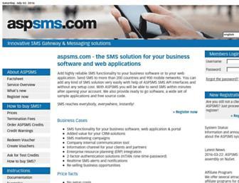 aspsms.com screenshot