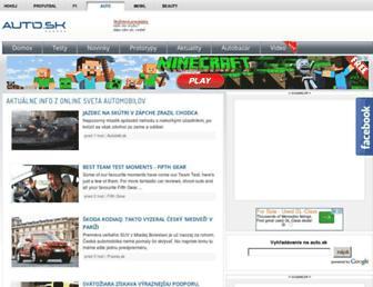Main page screenshot of auto.sk