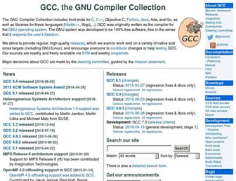 gcc.gnu.org screenshot
