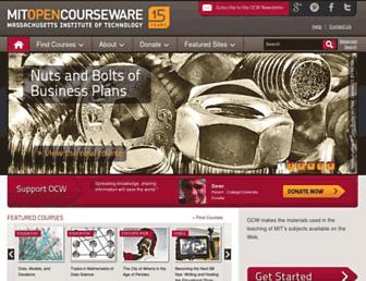 Main page screenshot of ocw.mit.edu