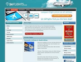 Main page screenshot of saflights.co.za
