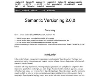 Main page screenshot of semver.org