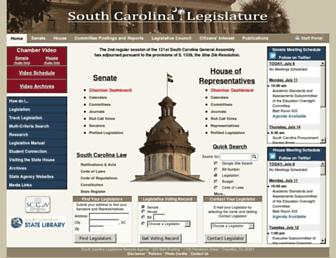 Main page screenshot of scstatehouse.gov