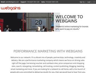 Main page screenshot of webgains.ie