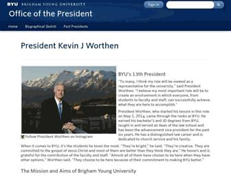 Main page screenshot of president.byu.edu