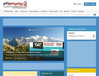 Main page screenshot of ffrandonnee.fr