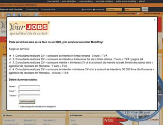 Main page screenshot of yourjobs.ro