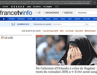 Main page screenshot of francetvinfo.fr