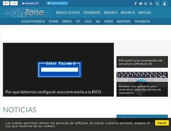 Main page screenshot of softzone.es