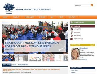 Main page screenshot of ashoka.org
