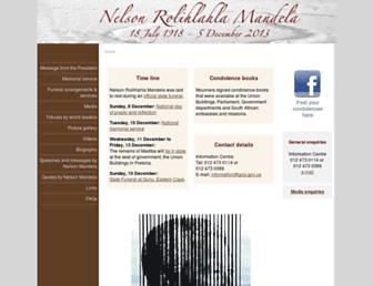 Main page screenshot of mandela.gov.za