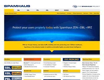 Main page screenshot of spamhaus.org