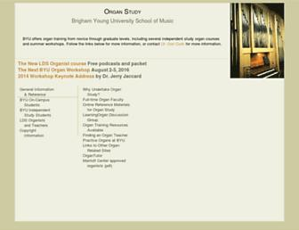 Main page screenshot of organ.byu.edu
