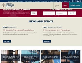 Main page screenshot of justice.org