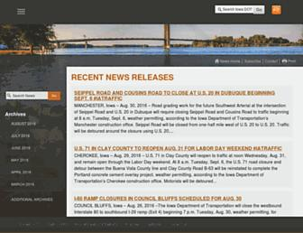 Main page screenshot of news.iowadot.gov