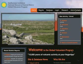 Main page screenshot of volcano.si.edu