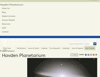 Main page screenshot of haydenplanetarium.org