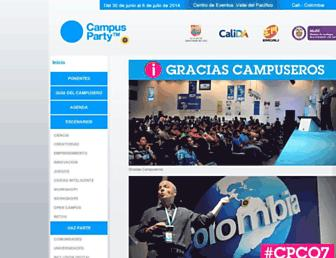 Main page screenshot of campus-party.com.co