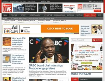Main page screenshot of timeslive.co.za